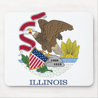 Mouse pad with Flag of Illinois State - USA