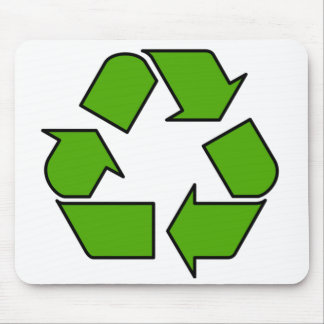 Mouse pad with green Recycle symbol