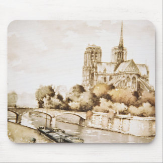 Mouse pad with 'Notre Dame Cathedral' image