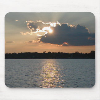 mouse pad with photo of silver-lining sunset