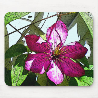 Mouse pad with pink flower.