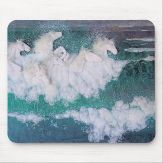 mouse pad with white sea horses