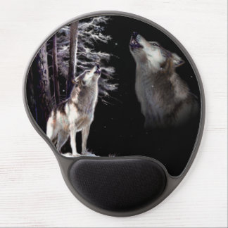 Mouse Pad Wolf howling Imagery of His Mate in Ski Gel Mouse Pad