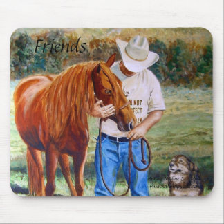Mouse Pads Friends Man with his horse and dog
