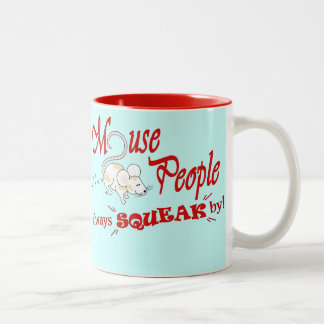 """""""Mouse People"""" (red text) Two-Tone Coffee Mug"""