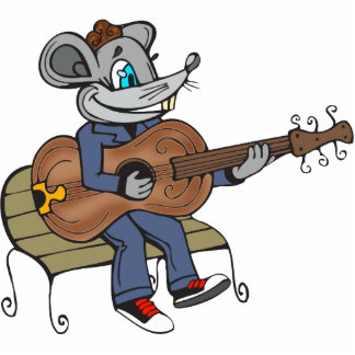 Mouse Playing Guitar Standing Photo Sculpture