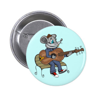 Mouse Playing Guitar Pinback Button