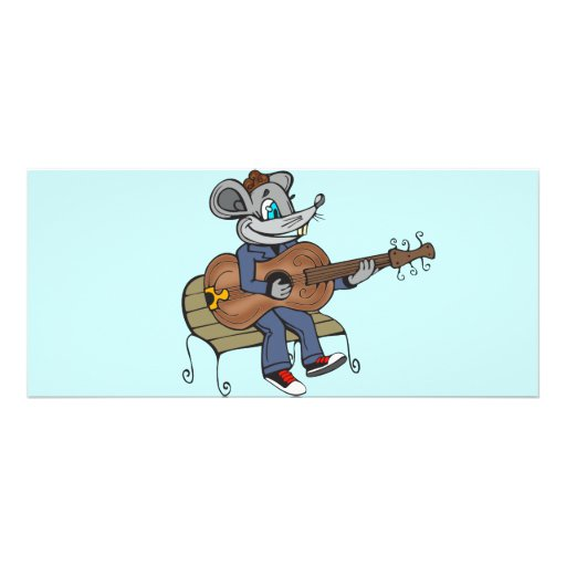 Mouse Playing Guitar Rack Card