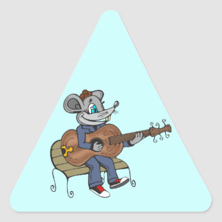Mouse Playing Guitar Triangle Sticker