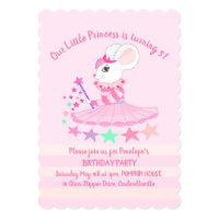 Mouse Princess Kids Party Invitation