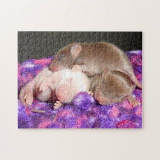 Mouse Puzzle:  3 Baby Mice Jigsaw Puzzle
