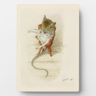 Mouse Reading Newspaper Display Plaques