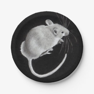 Mouse: Realistic Pencil Drawing: Mouse on a Plate! 7 Inch Paper Plate