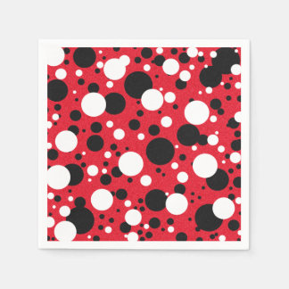 Mouse Red Black Party Polka Dot Cocktail Napkins