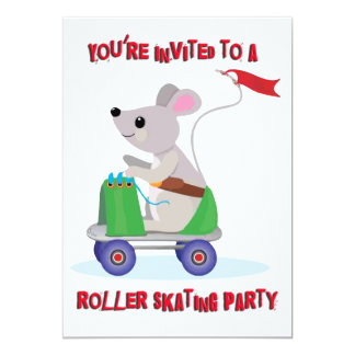 Mouse Riding a Roller Skate Skating Party Card