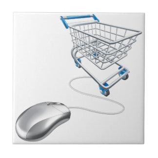 Mouse shopping cart ceramic tiles