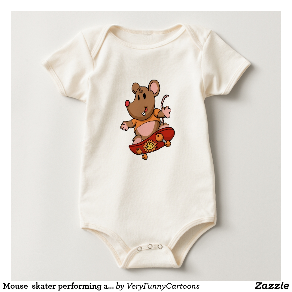 Mouse  skater performing a trick baby bodysuit - Adorable Baby Bodysuit Designs