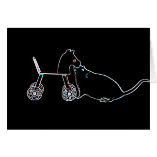 mouse sniffing wheeled horse dark cute animal greeting cards