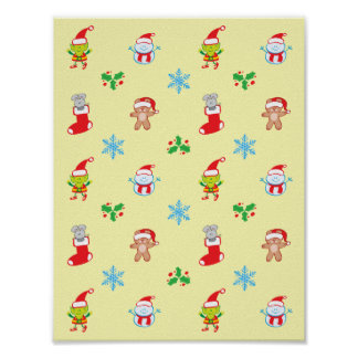Mouse, snowman, teddy and elf Christmas pattern Poster