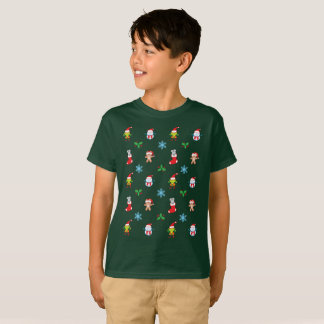 Mouse, snowman, teddy and elf Christmas pattern T-Shirt
