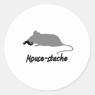 mouse-stache classic round sticker