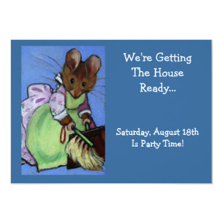 Mouse Sweeping: Freehand Art: Party Preparation 5x7 Paper Invitation Card