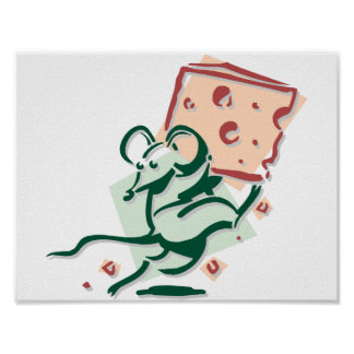 Mouse Taking Cheese Poster