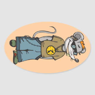 Mouse Teenager Oval Sticker