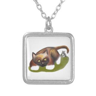 Mouse Tickles Kitten Square Pendant Necklace