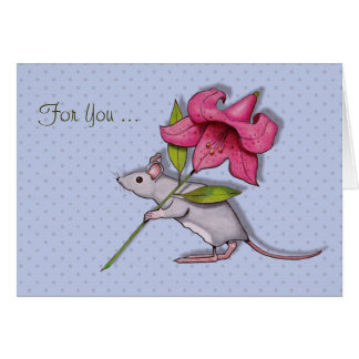 Mouse Toting Big Lily Flower, For You, Art Card