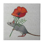 Mouse Toting Big Red Flower: Color Pencil Tile