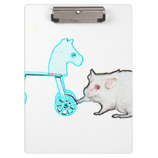mouse touching blue horse outline animal clipboard