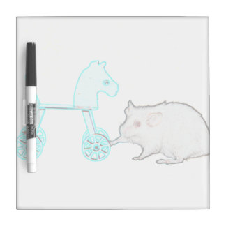 mouse touching blue horse outline animal dry erase board
