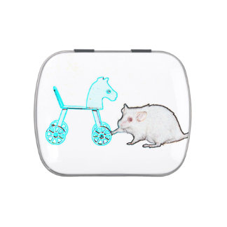mouse touching blue horse outline animal jelly belly candy tin