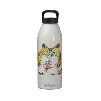 Mouse Toy and Tiger Kitten, Sumi-e Drinking Bottle