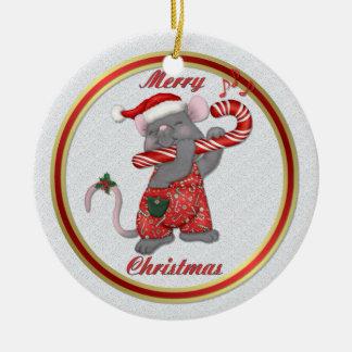 Mouse Tunes Santa Ceramic Ornament
