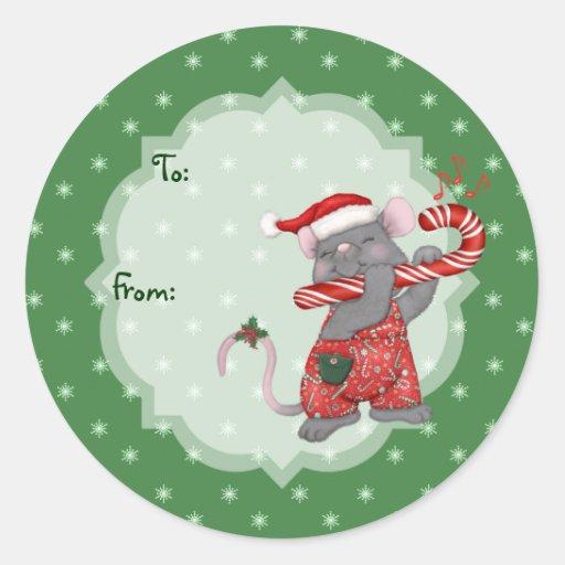 Mouse Tunes Santa Classic Round Sticker