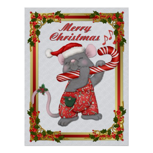 Mouse Tunes Santa Posters