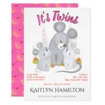 Mouse Twins Girl Mother Baby Shower Woodland Mouse Invitation
