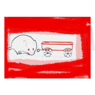 mouse wagon outline with red cute animal greeting cards