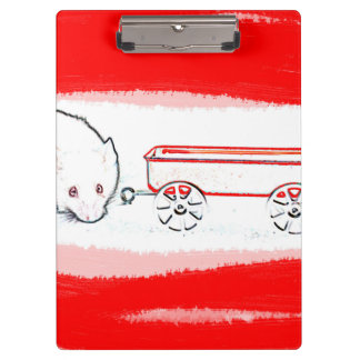 mouse wagon outline with red cute animal clipboard