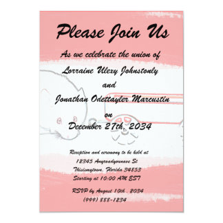 """mouse wagon outline with red cute animal 5"""" x 7"""" invitation card"""