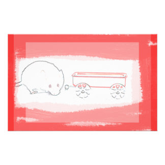 mouse wagon outline with red cute animal stationery