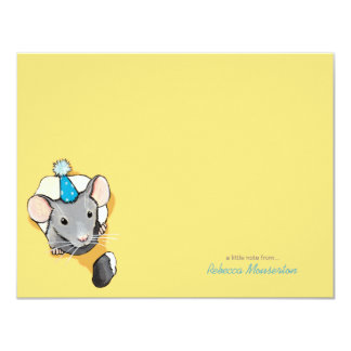 Mouse Wearing Party Hat Flat Thank You Note Card Custom Announcements