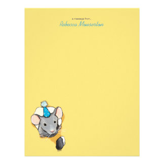 Mouse Wearing Party Hat Personalizable Letterhead