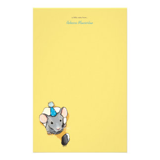 Mouse Wearing Party Hat Personalizable Stationery