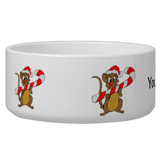 Mouse with a Christmas candy cane Bowl