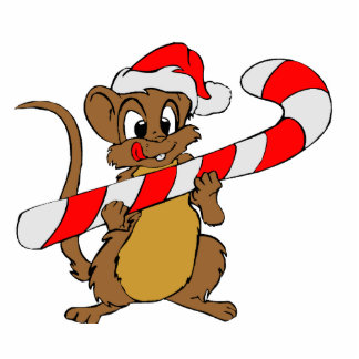 Mouse with a Christmas candy cane Statuette
