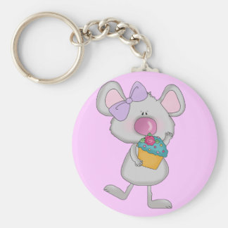 Mouse with Cupcake Tshirts and Gifts Keychain