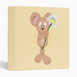 Mouse with Flower 3 Ring Binder